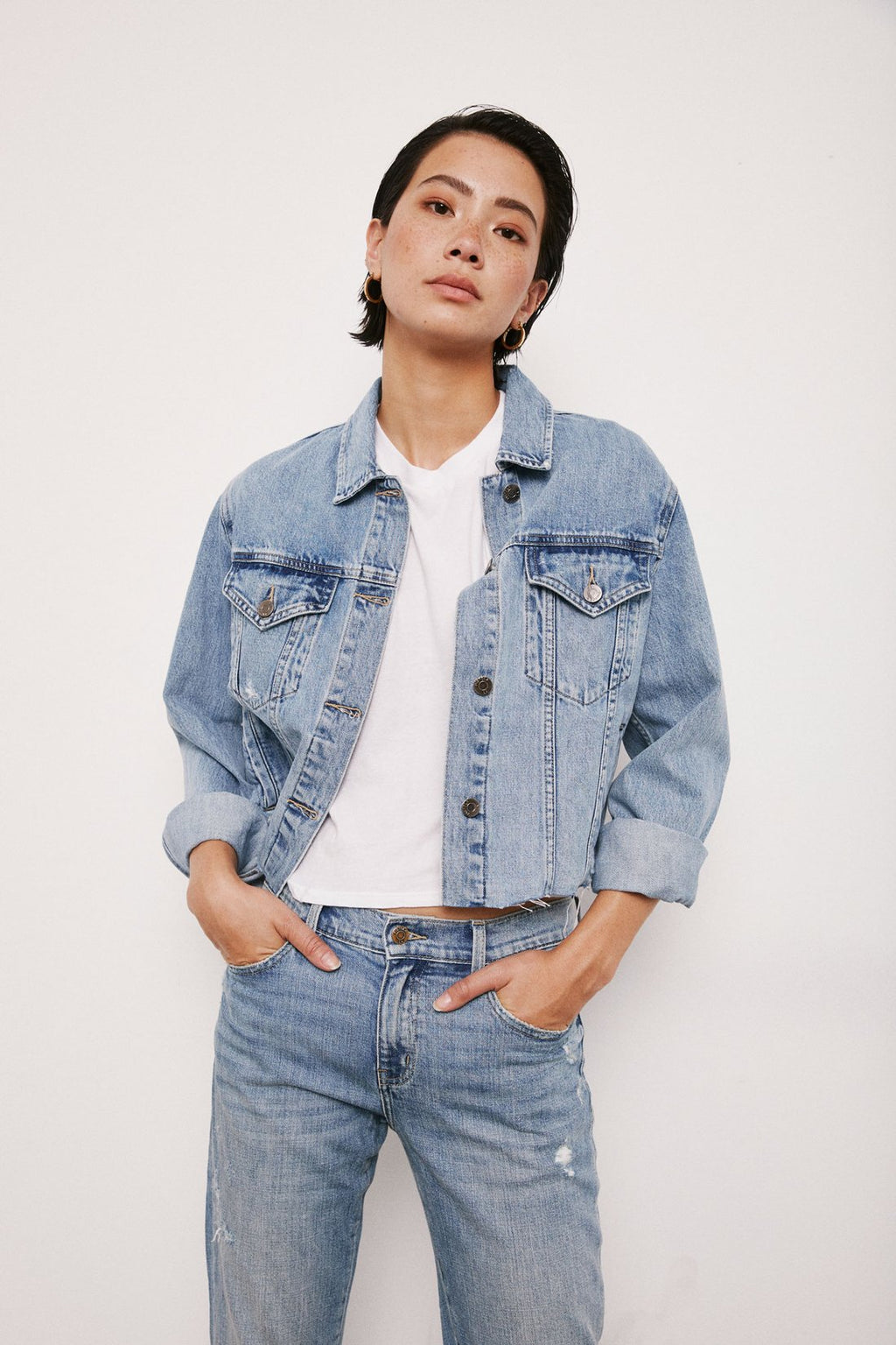 Naya Cropped Boyfriend Denim Jacket