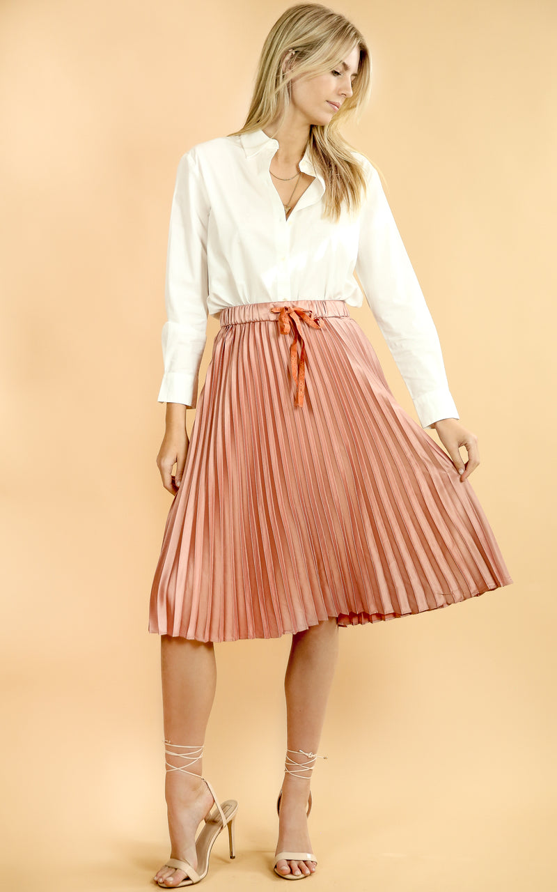 Shiny Pleated Skirt Blush