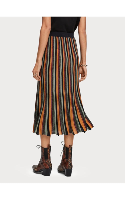 Pleated Midi Skirt Lurex Stripe