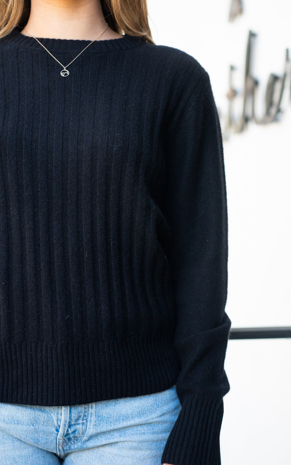 Cashmere Ribbed Crew Sweater