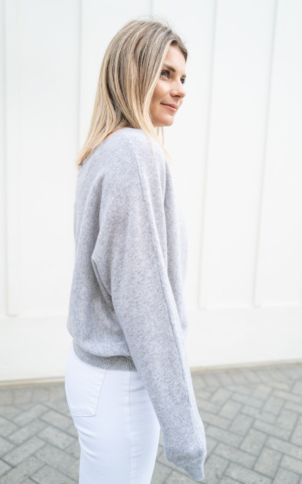 Heather Grey Off Shoulder Cashmere