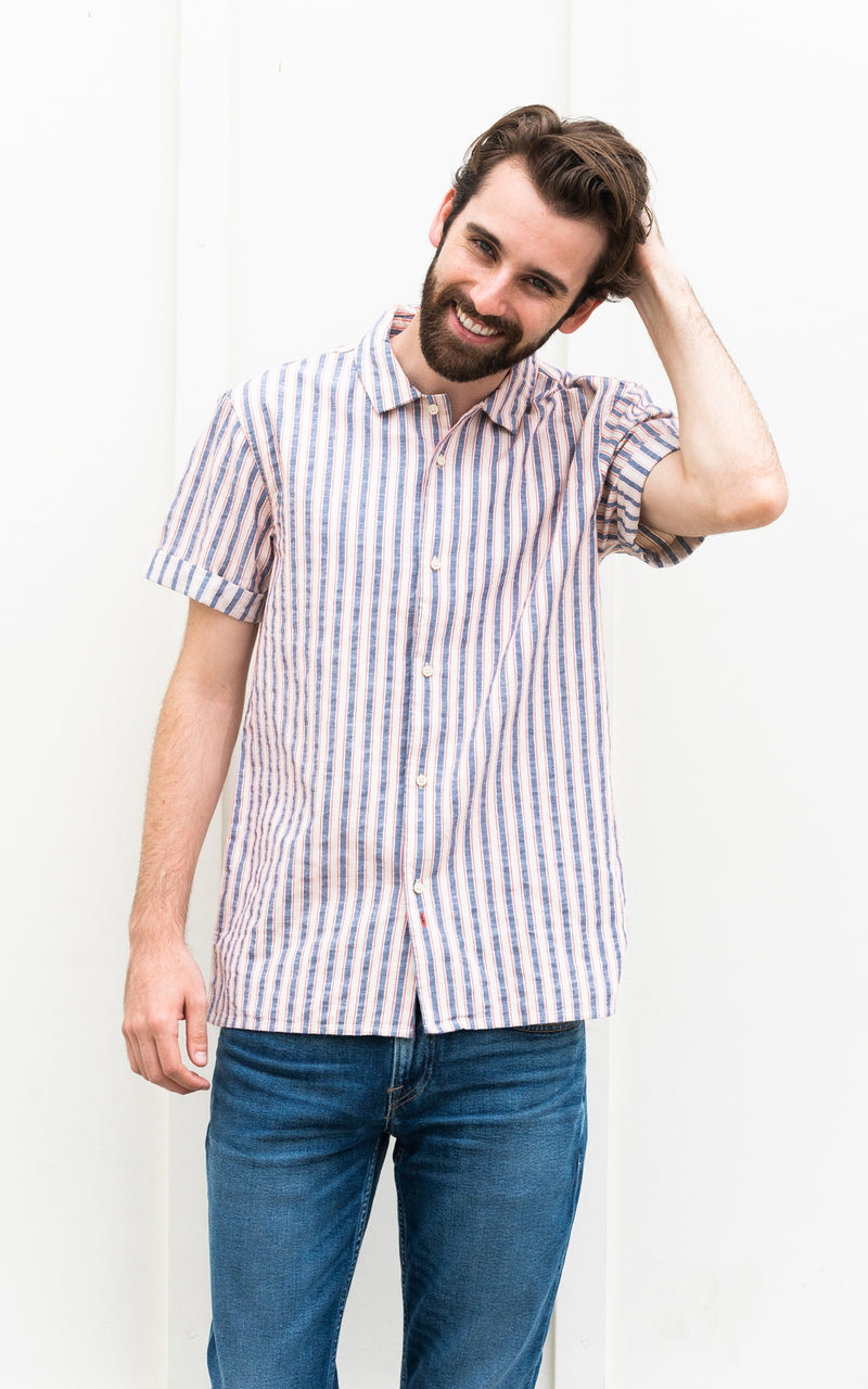 Scotch & Soda Shirt in red, navy, and white stripes