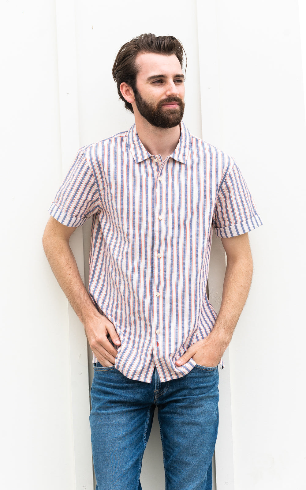 Structured Stripe Shortsleeve