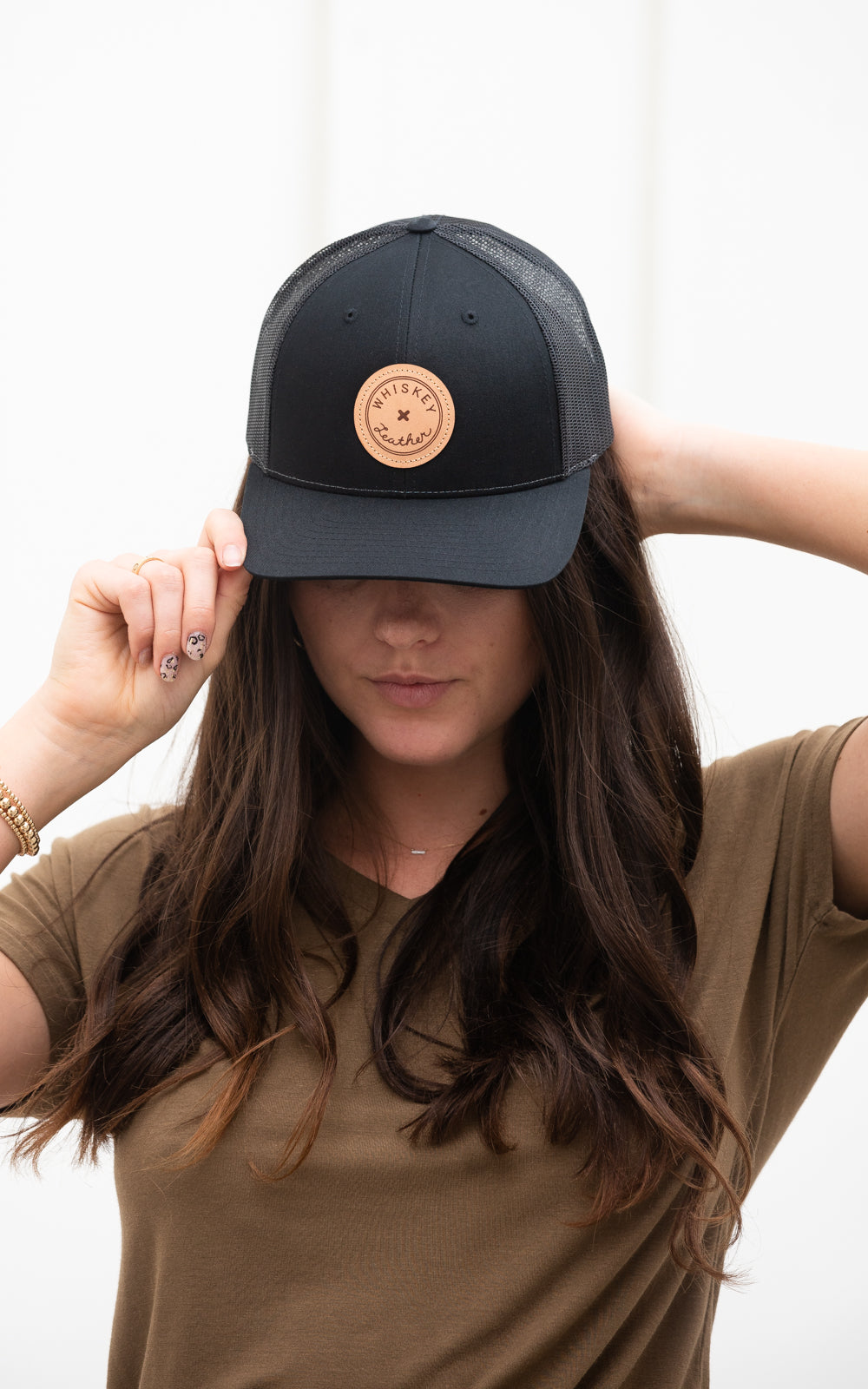 Whiskey Trucker Hat Circle Black