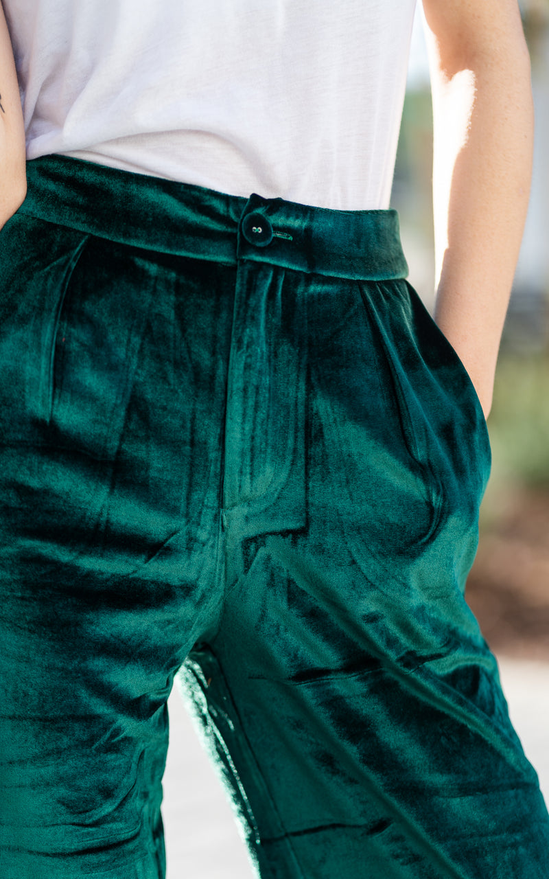 green velvet wide leg pants by charlie holiday