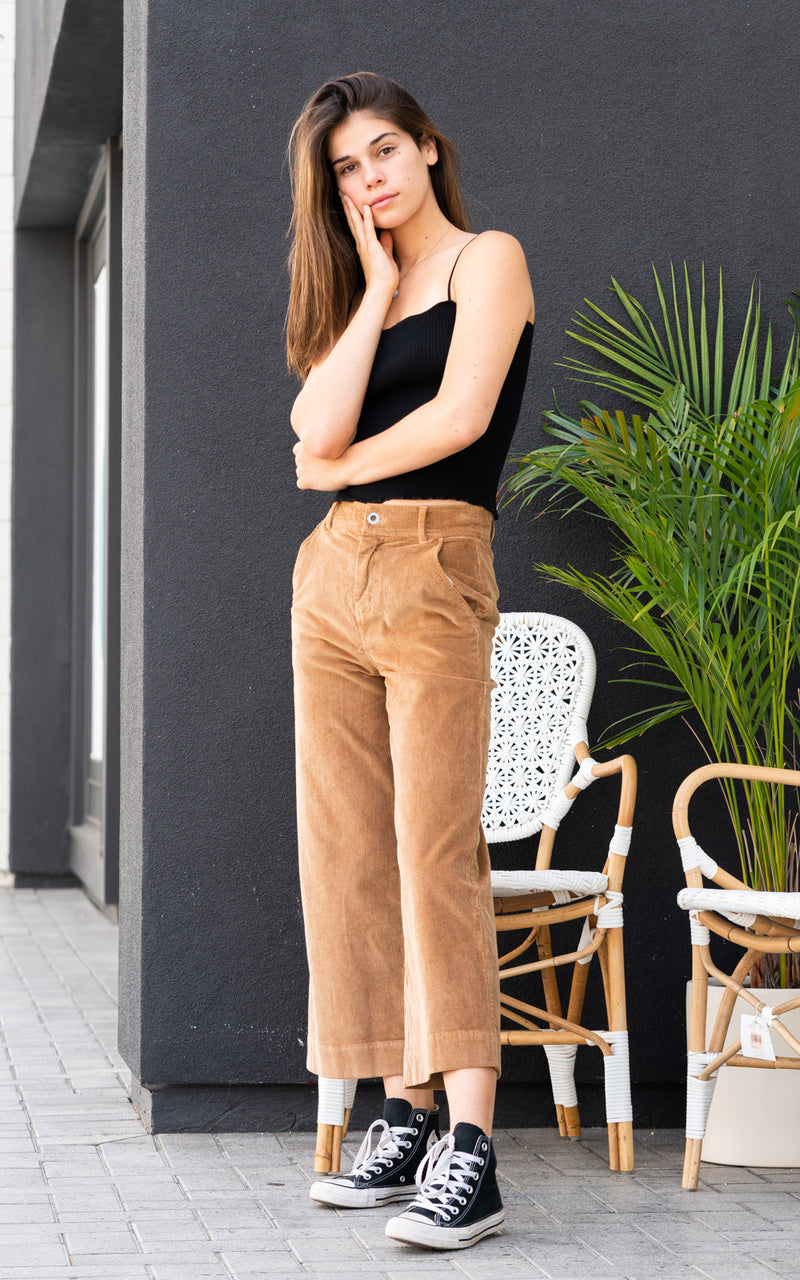 Wide Leg Crop Trouser Camel