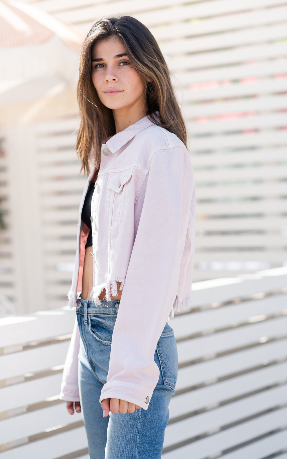 pink denim  jacket by jbrand