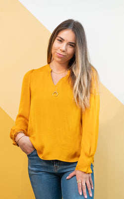 Mustard V-neck Blouse