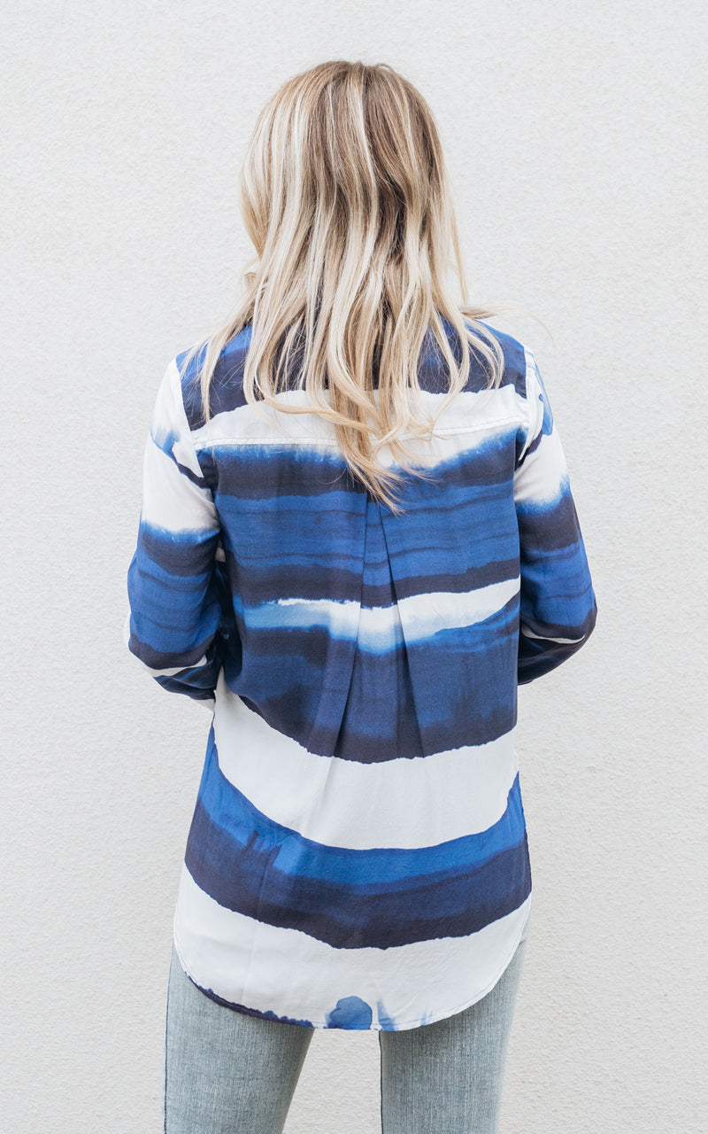 Blue Wave Stripe Flowy Button Down