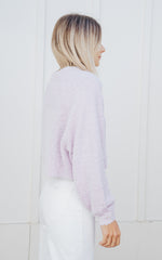 Cropped Raglan Sweater Lilac
