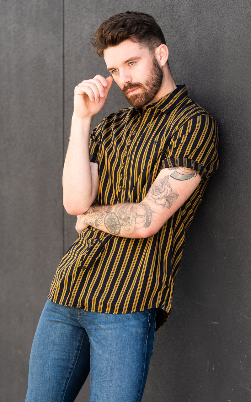 Scotch & Soda Shirt in navy and yellow stripes