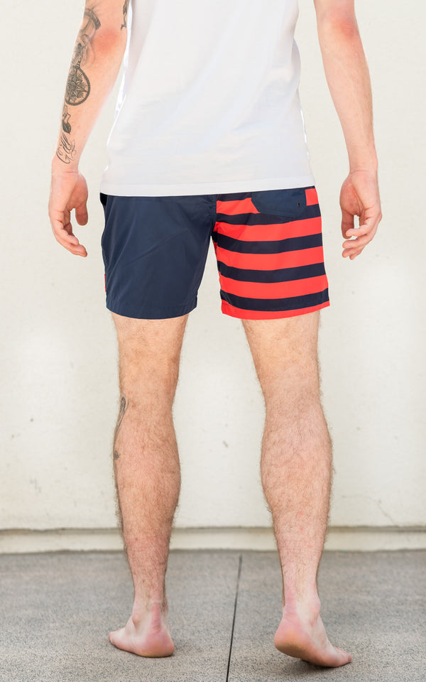 Block Stripe Swim Short