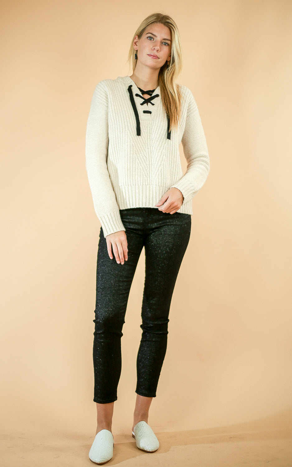 Lace Up Knit Hoodie