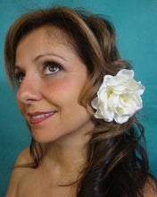 Load image into Gallery viewer, Ivory Velvet Magnolia Gardenia Hair Flower Clip