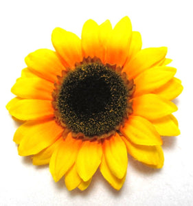 Yellow Orange Sunflower Hair Flower Clip