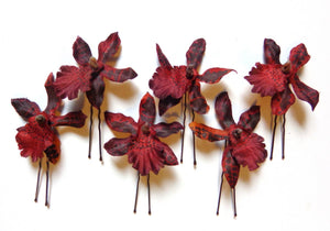 Burgundy Orchid Hair Flower Pins - Set of SIX