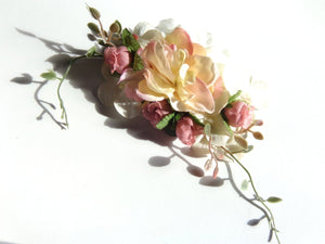 Pastel Pink and Mauve Hair Flower Clip