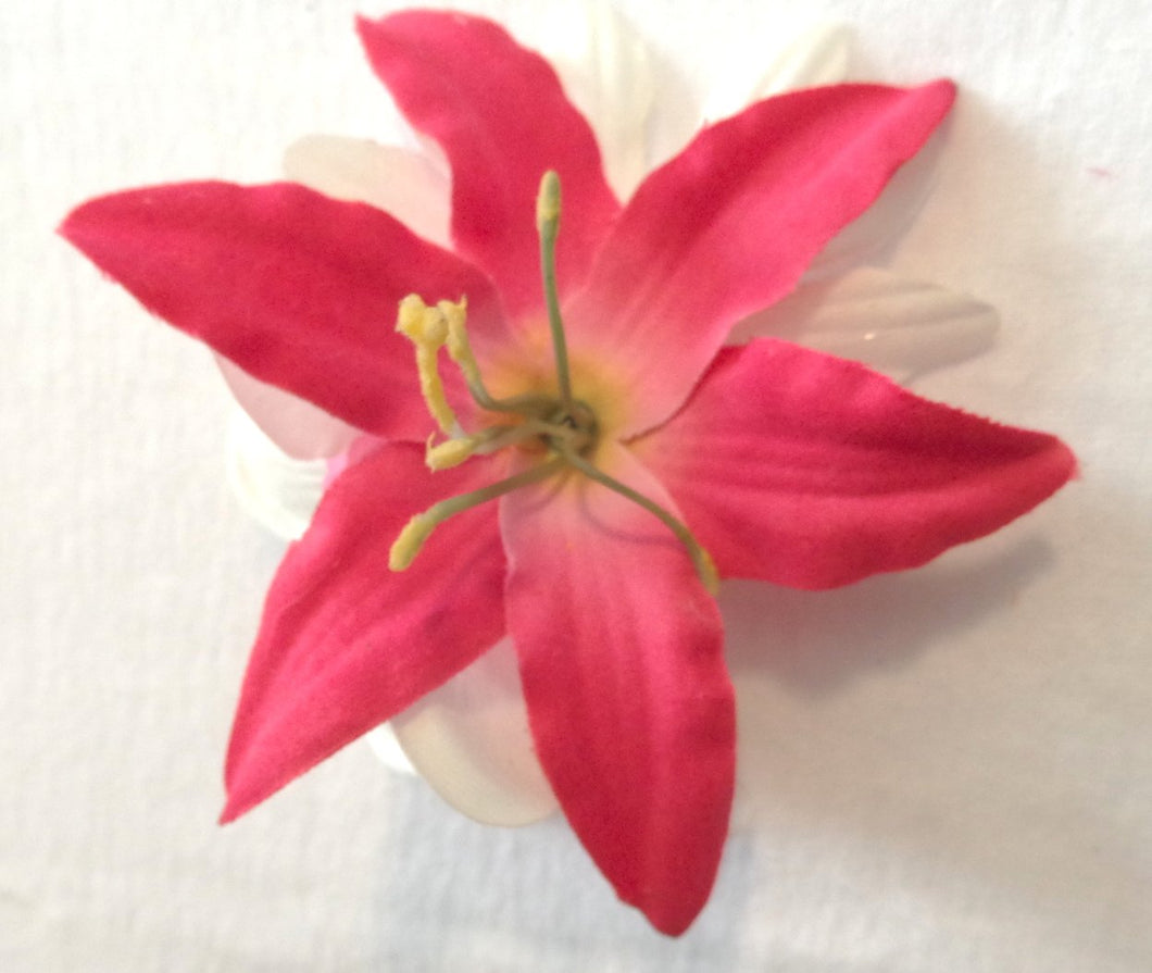 Pink Lily Hair Flower Clip with White Plumeria