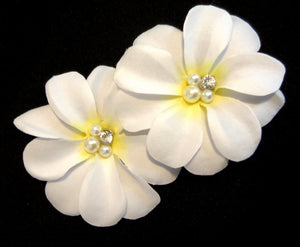 White Tropical Plumeria Hair Flowers with Crystal and Pearls - Pair
