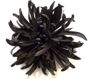 Large Black Spider Mum Hair Flower Clip and Pin
