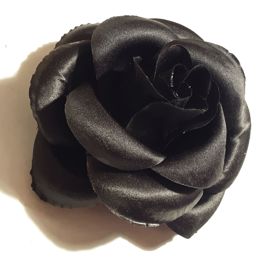 Large 6 Inch Black White or Red Rose Hair Flower Clip and Pin