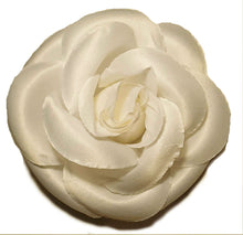 Load image into Gallery viewer, 5 Inch Large White Rose Hair Flower Clip