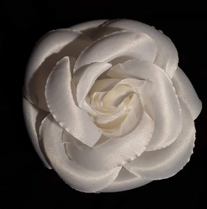 5 Inch Large White Rose Hair Flower Clip