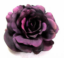 Load image into Gallery viewer, Eggplant Plum Purple Rose Hair Flower Clip