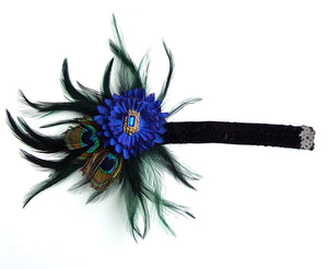 Royal Blue Feather Peacock Gatsby Flapper 20s Headband