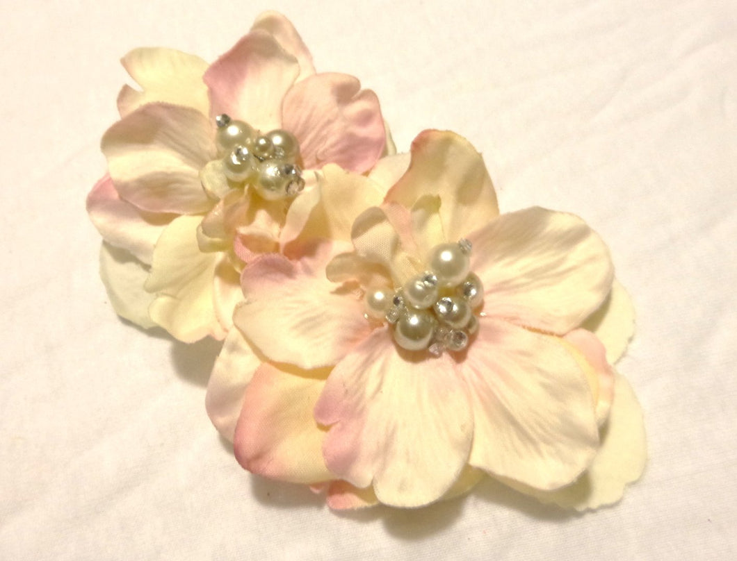 Light Pink and Ivory White Hair Flower Clip with Rhinestone Crystals and Pearls