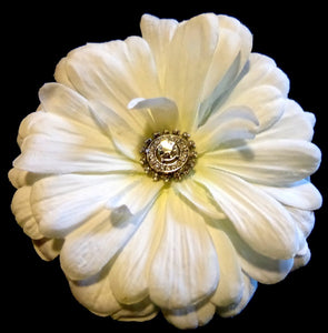 White Zinnia Hair Flower Clip with Rhinestone Crystal Center