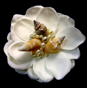 Ivory Mermaid HairFlower with Seashells and Pearl Hair Clip