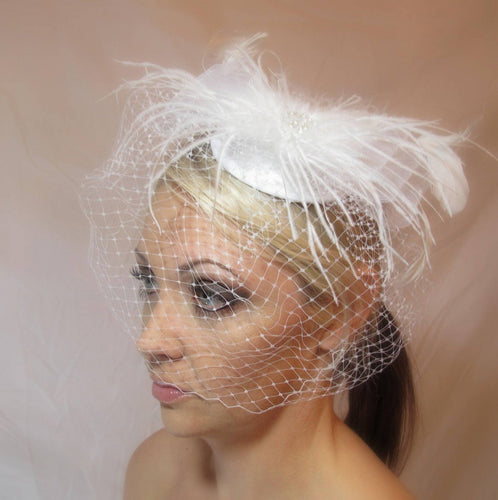 White Satin Bridal Birdcage Veil Fascinator Hat