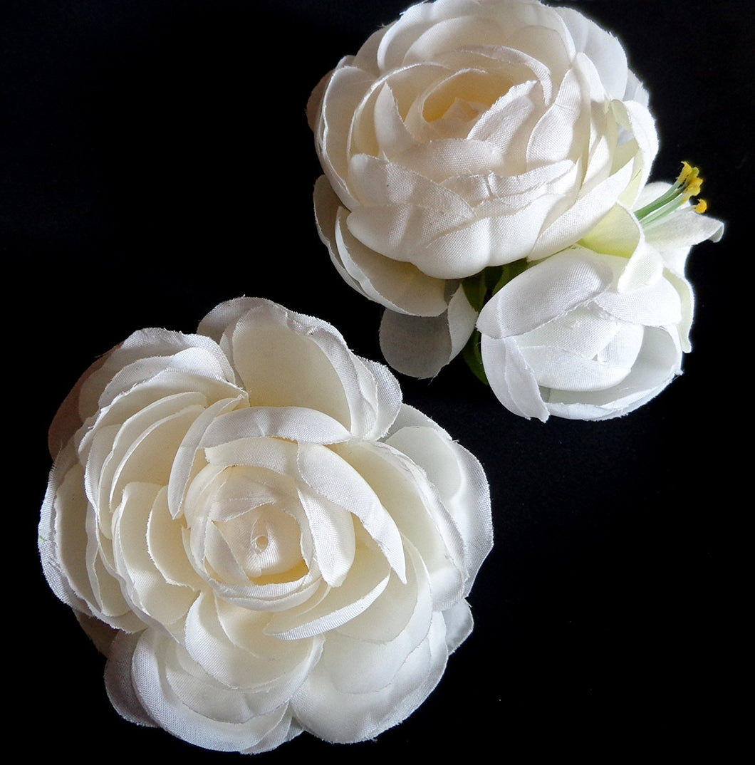Ivory Ranunculus Flower Blossom Hair Clips - Set of Two