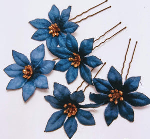 Small Blue Hair Flower Pins -Set of 5