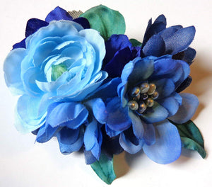 Blue with Pearl Hair Flower Clip
