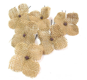 Small Burlap Flower Hair Pins - Set of 6