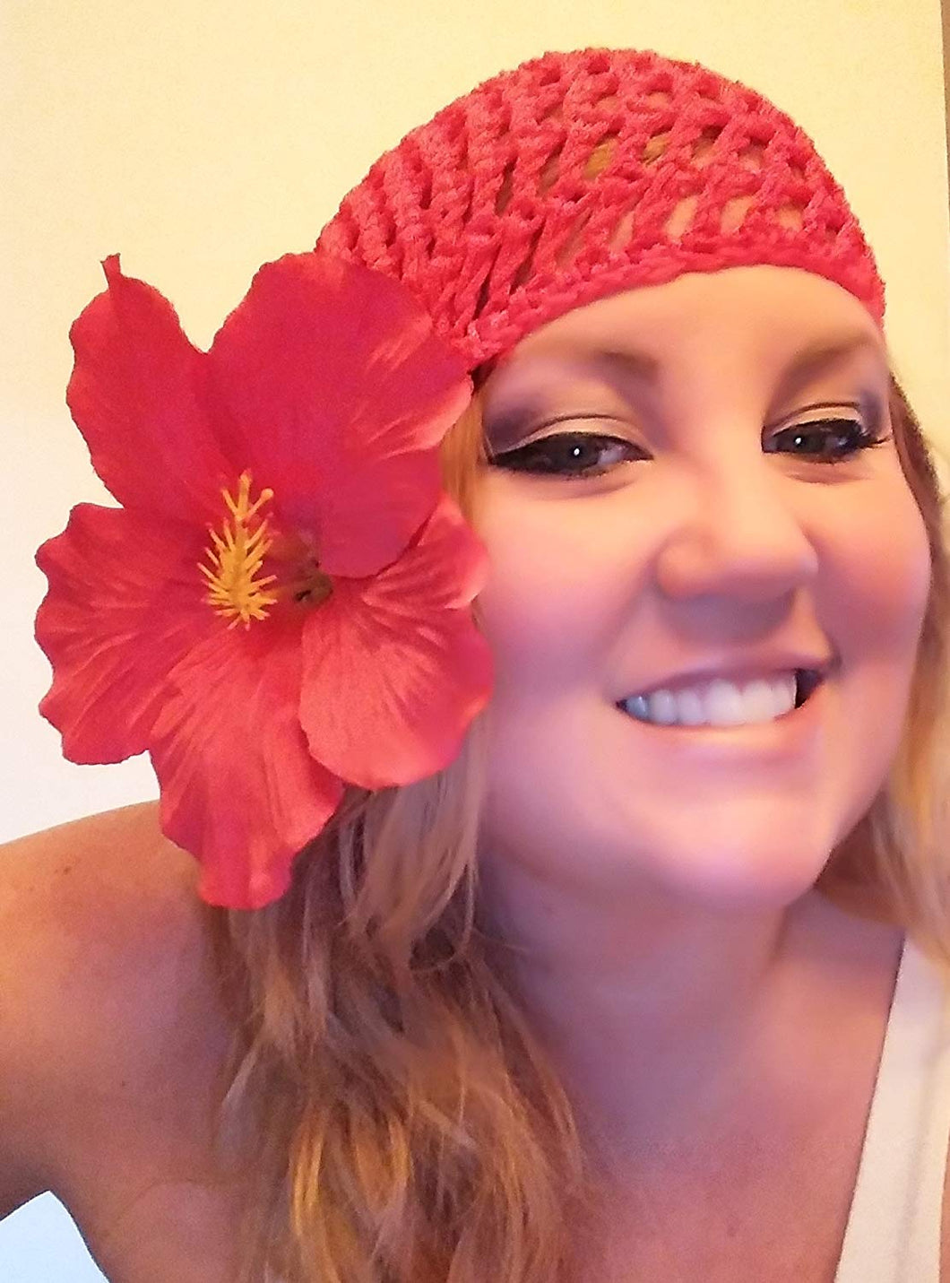 Red Hibiscus Snood Hat