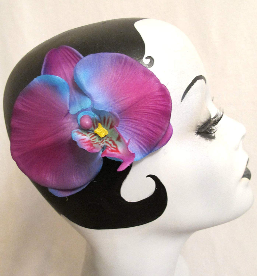 Purple and Blue Tropical Orchid Hair Flower Clip
