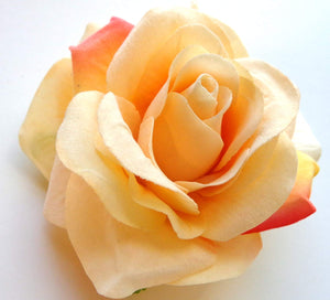 Light Peach and Salmon Rose Hair Flower Clip and Pin