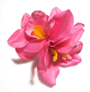 Pink Tropical Cymbidium Orchid Flower Hair Clip