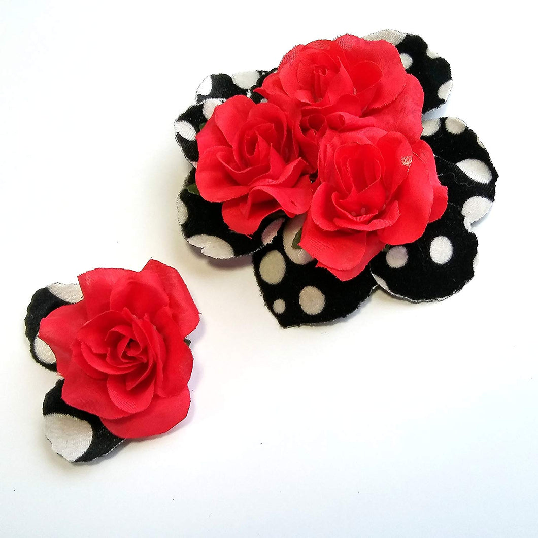 Black and White Polka Dot Red Rose Hair Flower