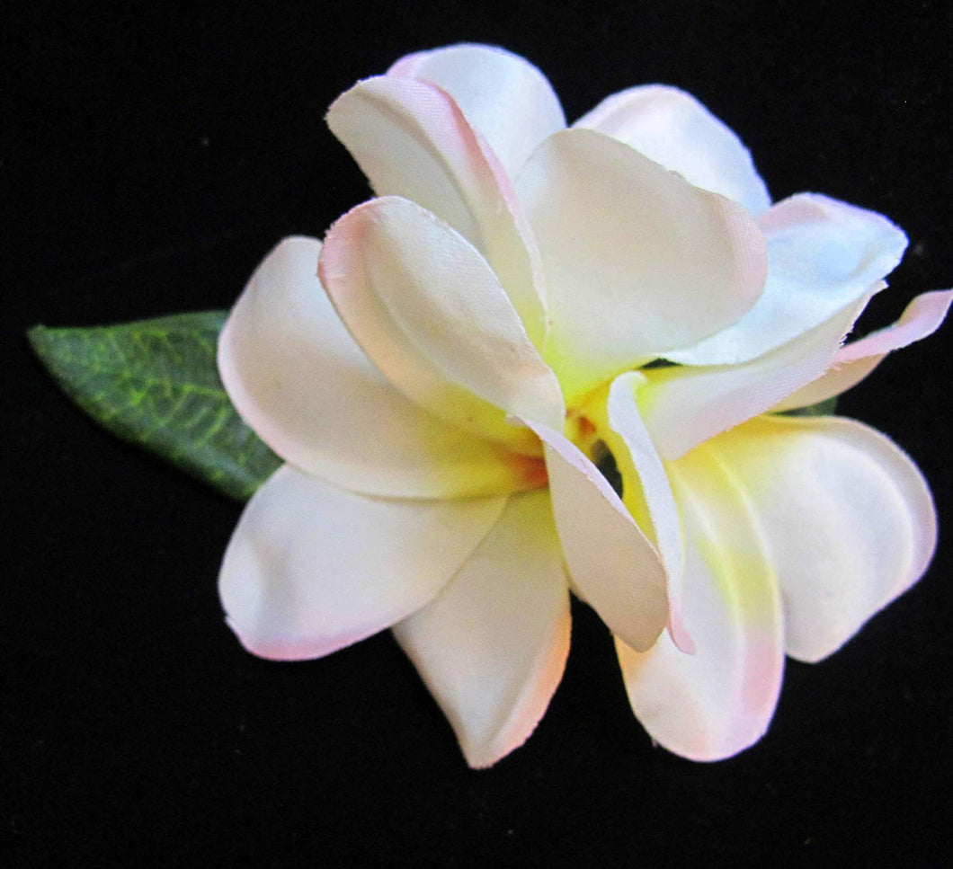 Light Pink and White Plumeria Hair Flower Clip
