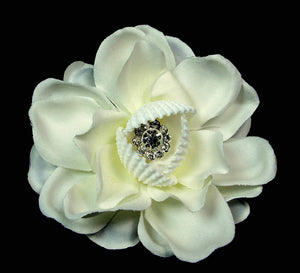 Ivory White Hair Flower with Seashells and Crystal