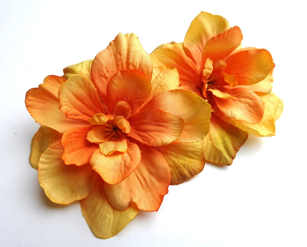 Sunshine Yellow Orange Delphinium Flower Hair Clips- PAIR