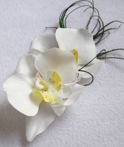 White Orchid Hair Clip with Peacock Feathers