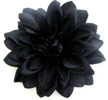 Load image into Gallery viewer, Large Black Dahlia Hair Flower Clip