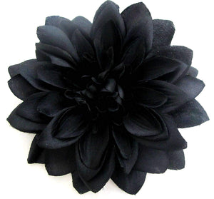 Large Black Dahlia Hair Flower Clip