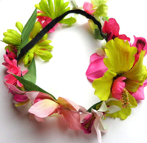 Pink and Green Tropical Hair Flower Crown Halo Wreath Headband