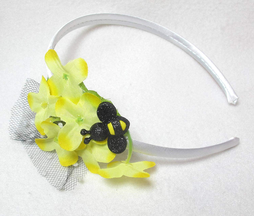 Yellow Floral Headband with Bumble Bee